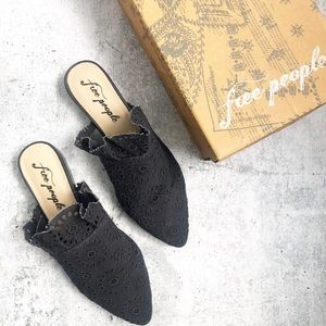 New Free People Sienna Black Eyelet Ruffle Mules